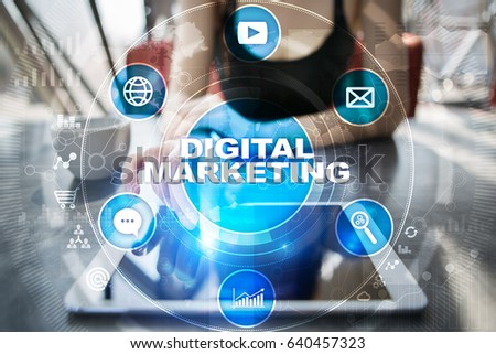 DIgital marketing technology concept.. Internet. Online. Search Engine Optimisation. SEO. SMM. Advertising. #640457323