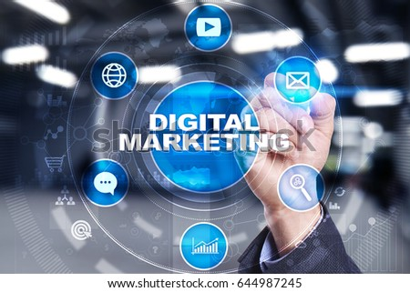 DIgital marketing technology concept.. Internet. Online. Search Engine Optimisation. SEO. SMM. Advertising. #644987245