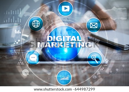 DIgital marketing technology concept.. Internet. Online. Search Engine Optimisation. SEO. SMM. Advertising. #644987299