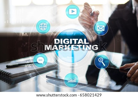 DIgital marketing technology concept. Internet. Online. Search Engine Optimisation. SEO. SMM. Advertising. #658021429