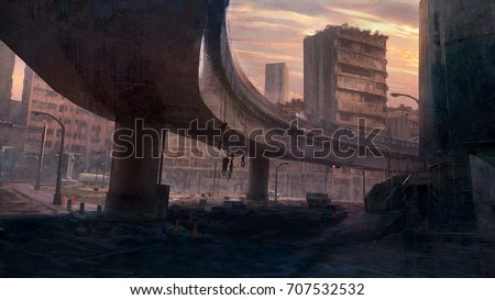 Shutterstock Digital matte painting of environment scene in old city with cartel corpses under the bridge