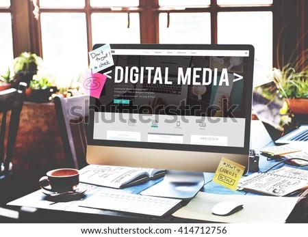 Digital Media Network Multimedia Technology Concept - Shutterstock ID 414712756