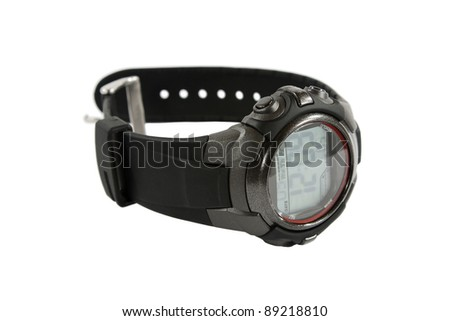 Digital Men's watch, close-up isolated on white background.