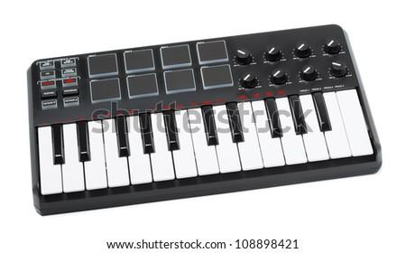 digital midi keyboard isolated on white background