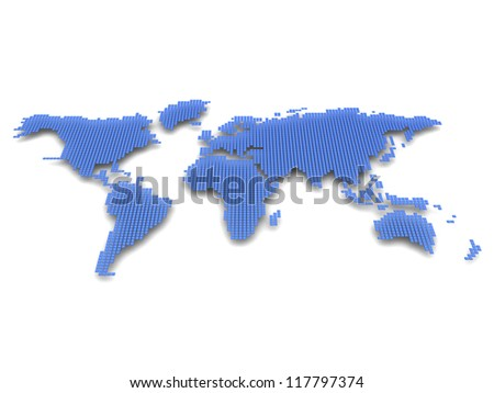 Digital model of planet: blue and white geography map