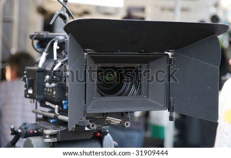 digital motion picture camera with matte box on location
