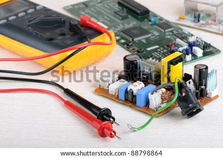 Digital multimeter and electronic parts of the radio equipment