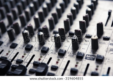 Digital music studio mixer for recording or radio / tv broadcast.