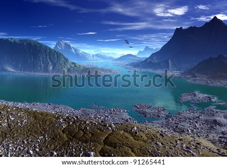 Digital Nature, Fantasy Landscape, 3d rendered fantasy landscape with mountains and lake