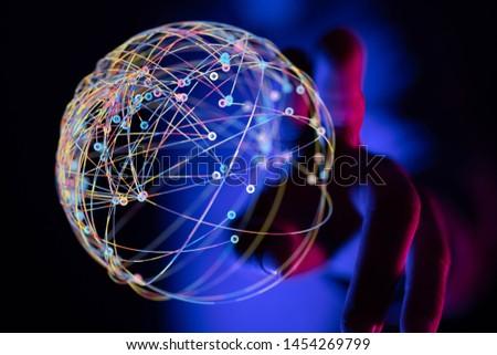 digital network in hand dark