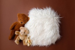 Digital newborn background for baby girls and boys. Brown colors, fur and teddy bears