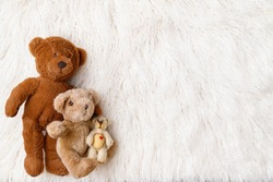 Digital newborn background for baby girls and boys. Light colors and three little bears