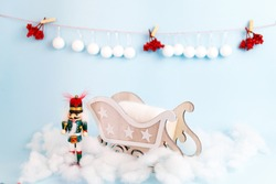 Digital newborn christmas background with wooden sleigh