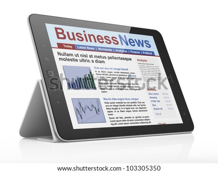 Digital news on tablet computer screen, 3d render