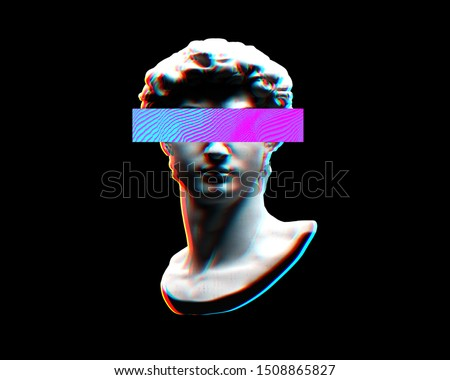 Digital offset CMYK illustration of classical head bust sculpture from 3D rendering with colorful rectangle omitting eyes in the style of modern graphics isolated on black background.