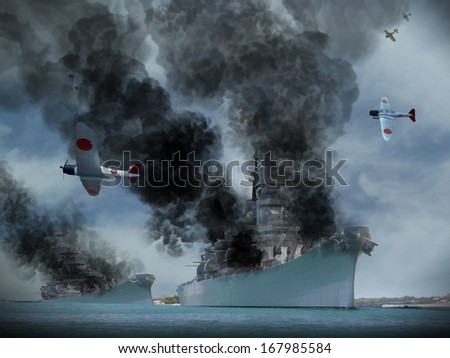 Digital Oil Painting of an attack similar to Pearl Harbor in World War 2