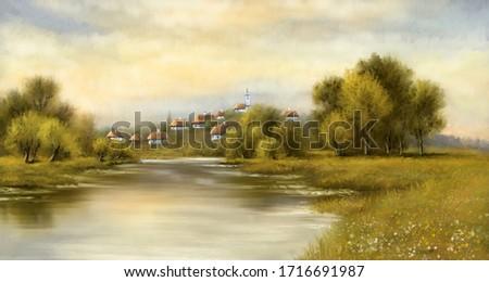 Digital oil paintings rural landscape, river in the morning. Old village, fine art, artwork