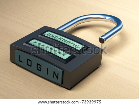 digital padlock with a username and password plus login button over a wooden background