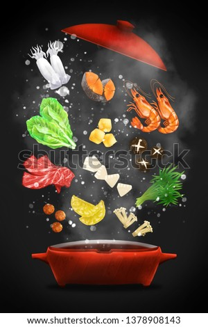 Digital painting cooking concept : Food realistic painting hot pot on the dark blackground , digital art style, illustration painting
