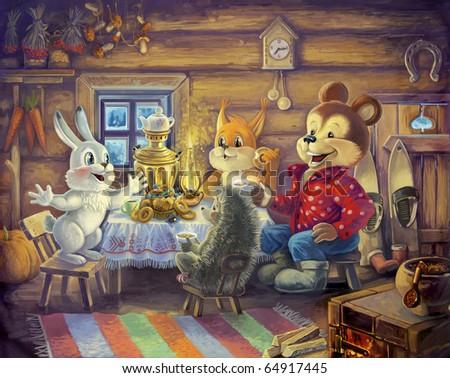 Digital painting. Friends drinking tea.