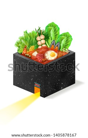 Digital painting Hotpot House concept : Food realistic painting hot pot house on white blackground , digital art style, illustration painting