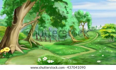 stock photo digital painting illustration of a path near the forest in realistic cartoon style 437041090 - Каталог — Фотообои «Для детской»