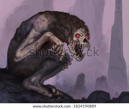 Digital painting of a creepy demon creature in an underground cave with glowing red eyes - digital fantasy illustration Сток-фото ©