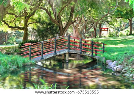 Stock Photo Digital painting of a foot bridge at the Japanese Gardens in Durban North, South Africa