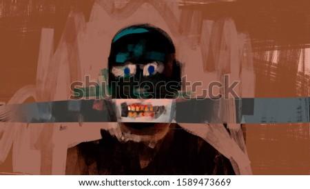 Digital painting of a human grin, strange weird concept art, portrait illustration Сток-фото ©