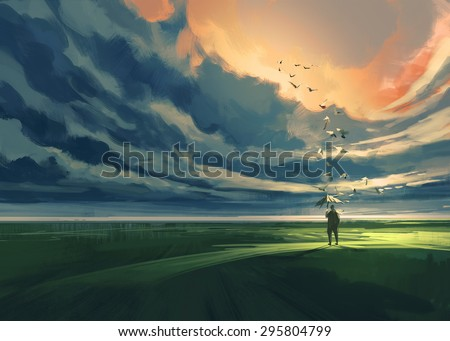digital painting of a man holding an umbrella standing alone in the meadow watching at the cloudy horizon