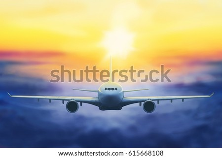 digital painting of a plane in the sunset - Shutterstock ID 615668108