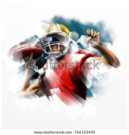 Digital painting of American football player
