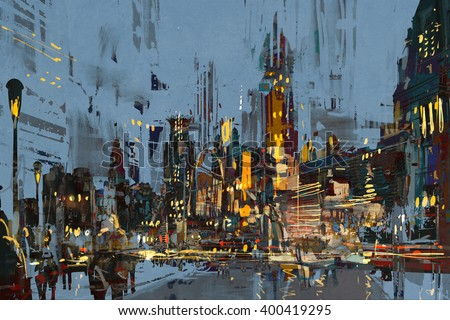 digital painting of city at night with colorful lights,illustration