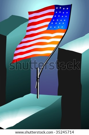 Digital painting of flag in colour background
