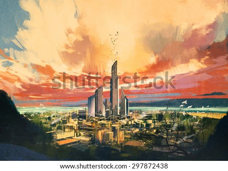 digital painting of futuristic sci-fi city with skyscraper at sunset,illustration
