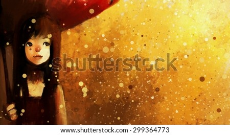 digital painting of girl in red dress with umbrella in the rain, watercolor on paper texture