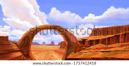 Digital painting of grand canyon with stones with cloudy sky. Landscape painting.