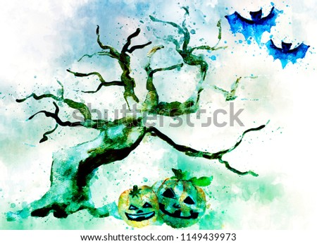 Stock Photo Digital painting of Halloween image. Spooky night with black tree,flying bats and pumpkins with faces.