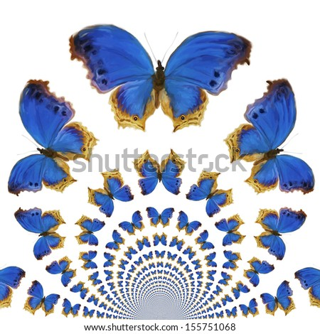 Stock Photo Digital Painting of kaleidoscopic Butterflies