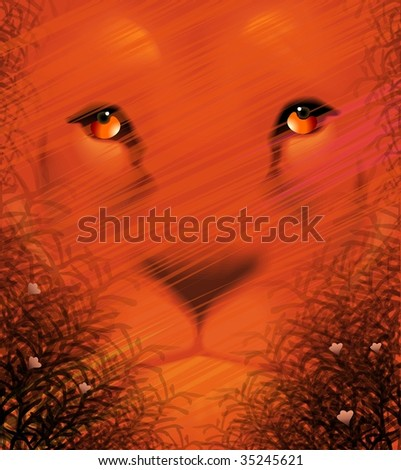 Digital painting of lion in colour background
