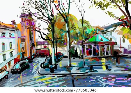 digital painting of Paris landscape, contemporary art raster version illustration