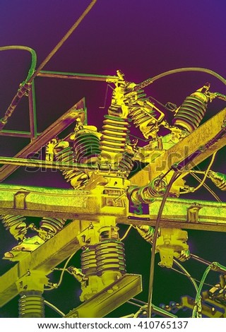 Digital painting of power insulators with Warhol style colors.