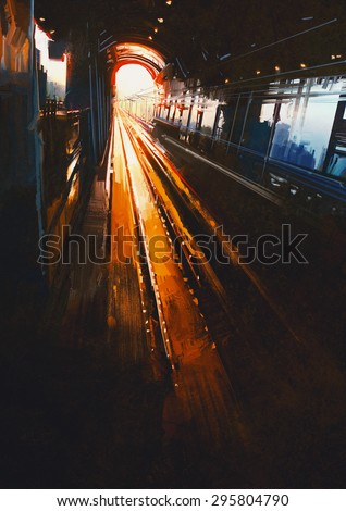digital painting of railway station with sunset