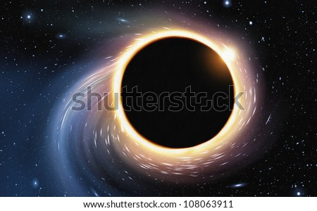 Stock Photo digital painting of space being distorted by a giant black hole