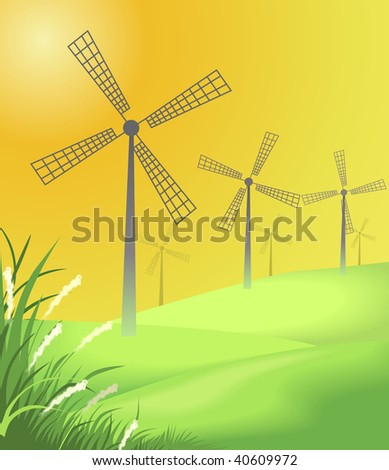 Digital painting of windmill and grass with green background