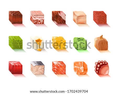 Digital painting : Set of cube food ingredients and raw material isolated on white background, digital art, illustration painting