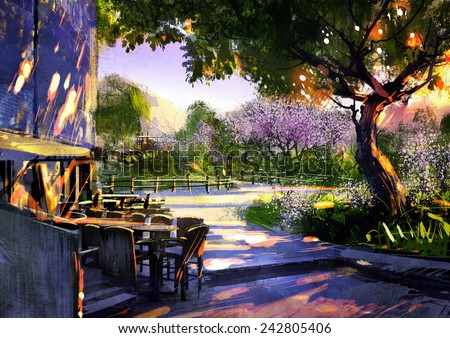 digital painting showing beautiful sunny in the park,illustration