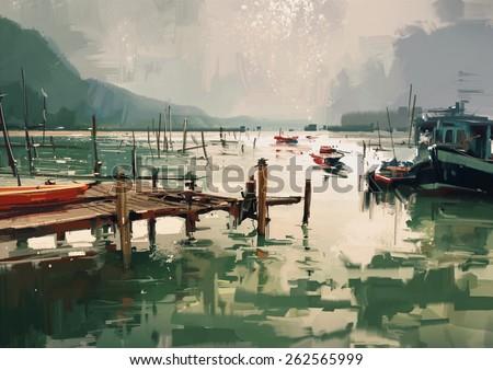 digital painting showing fishing boats at harbor,illustration
