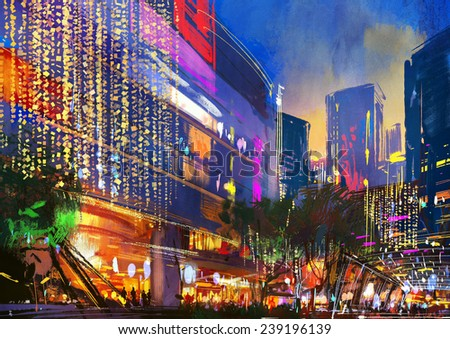 digital painting showing night scene of modern buildings,illustration