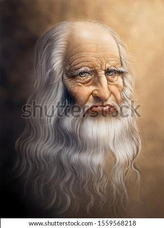 Digital painting version of the original portrait of Leonardo Da Vinci